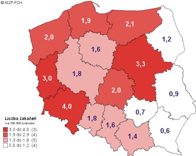 Średnia roczna liczba nowo wykrywanych zakażeń HIV w latach 2007-2011, według województw