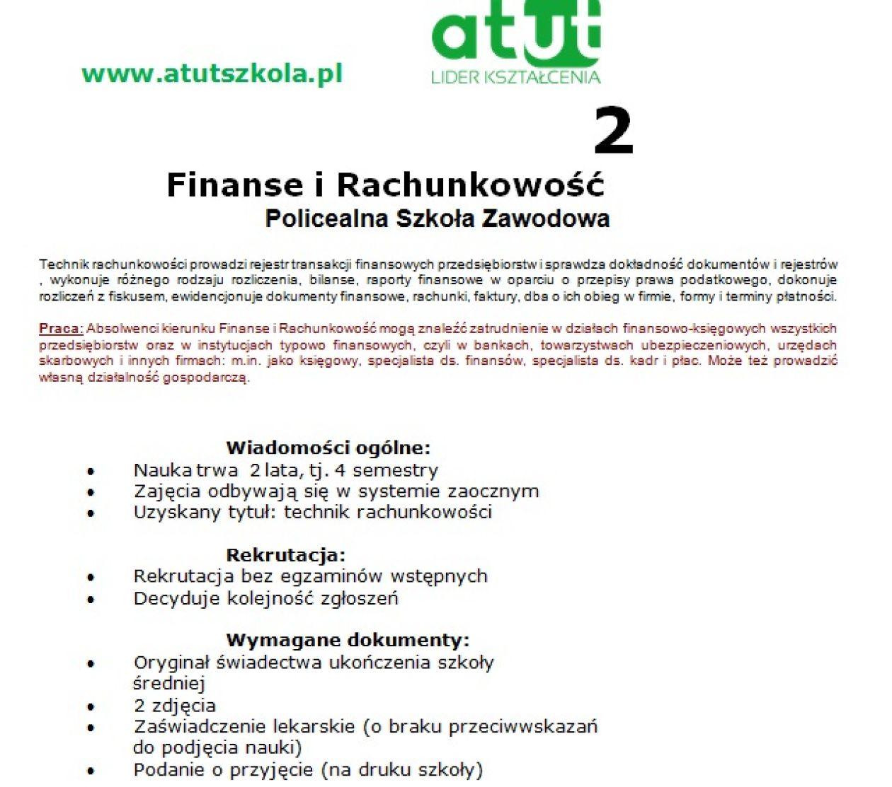 Atut Lider Kształcenia Technik Rachunkowości